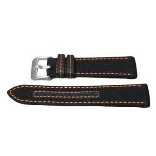 Hadley Roma Genuine Kevlar Watch Strap with Orange Contrast Stitching