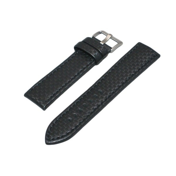 Hadley Roma Carbon Fiber Style Genuine Leather Watch Strap