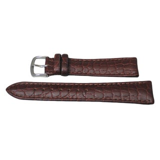 Hadley Roma Matte Grain Genuine Leather Watch Strap with Stitched Trim