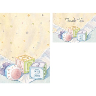 Baby Blocks Invitations and Thank You Note Cards