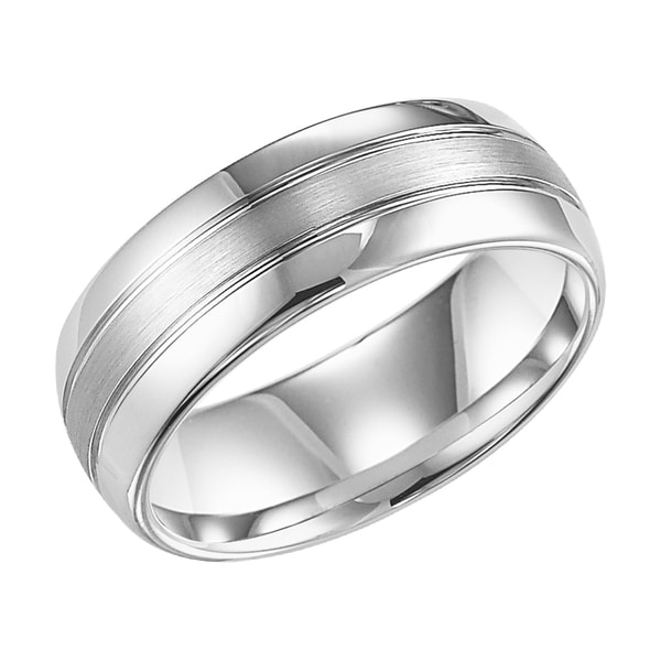 Cambridge White Tungsten Carbide 8mm 3 row fort Fit Wedding Band Oversto