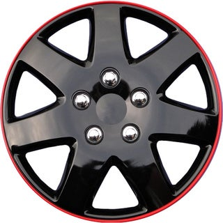 ABS Black/ Red 15-inch Design Hubcaps (Set of 4)
