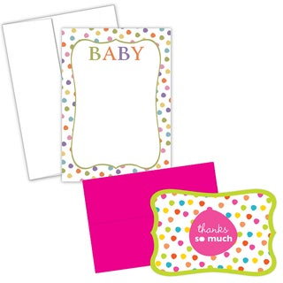 Baby Dots Invitations and Thank You Note Card Kit