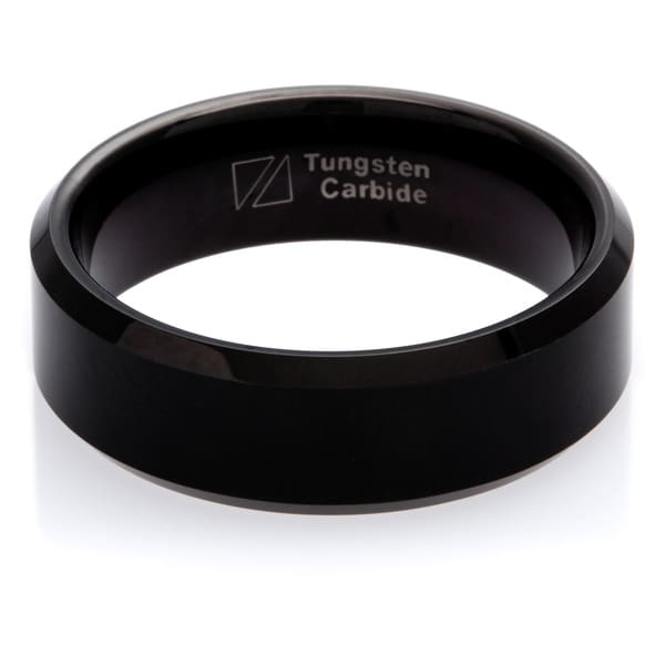 Cambridge Black Tungsten Carbide Beveled Edge 8mm Comfort Fit Wedding Band