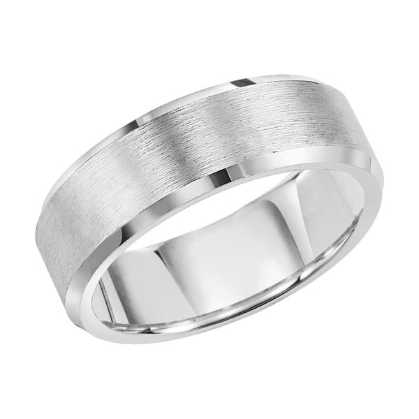 Cambridge White Tungsten Carbide Beveled Edge 8mm fort fit Wedding Band