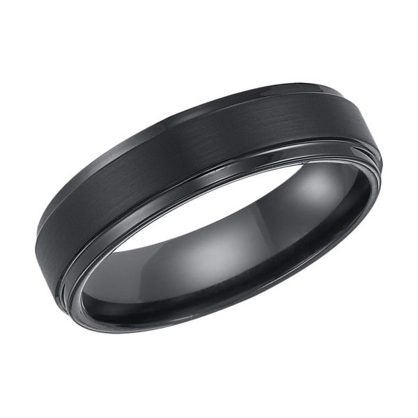 Cambridge Black Tungsten Carbide 6mm fort fit Wedding Band Overstock Sho