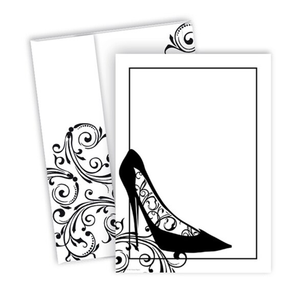 Black Stiletto Varnished Stock Invitations (20 Count)