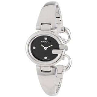 Gucci Women's YA134505 'Guccisima' Black Diamond Dial Stainless Steel Quartz Watch