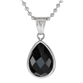Stainless Steel Created Checker Onyx Pendant Necklace