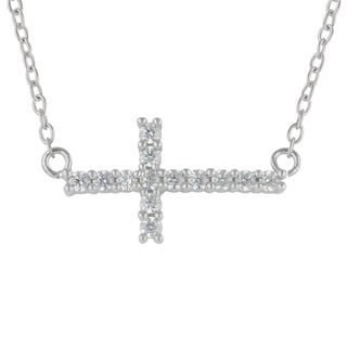 Sunstone Sterling Silver Faceted Cubic Zirconia Sideways Cross Necklace