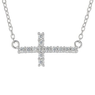 Sunstone Sterling Silver Faceted made with Swarovski Zirconia Sideways Cross Necklace with Gift Box