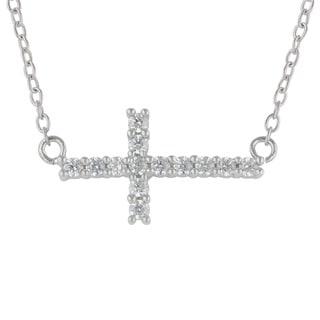 Sunstone Sterling Silver SWAROVSKI ZIRCONIA Sideways Cross Necklace with Gift Box