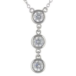 Sunstone Sterling Silver 3-stone made with Swarovski Zirconia Necklace with Gift Box