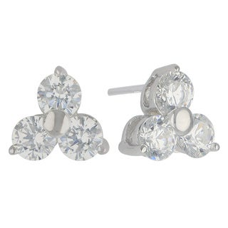 Sunstone Sterling Silver 3-stone Earrings made with Swarovski Zirconia with Gift Box