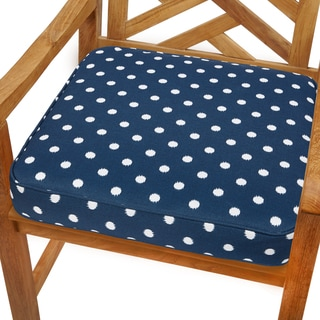 Navy Dots 20-inch Indoor/ Outdoor Corded Chair Cushion