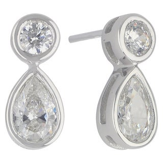 Sunstone Sterling Silver Double Teardrop Dangle Earrings made with Swarovski Zirconia with Gift Box
