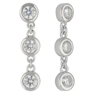 Sunstone Sterling Silver Triple Round SWAROVSKI ZIRCONIA Dangle Earrings with Gift Box