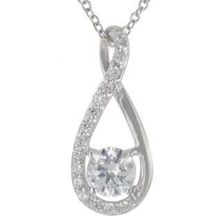 Sunstone Sterling Silver SWAROVSKI ZIRCONIA Teardrop Twist Necklace with Gift Box