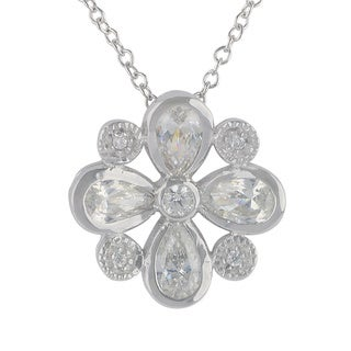 Sunstone Sterling Silver SWAROVSKI ZIRCONIA Flower Necklace with Gift Box