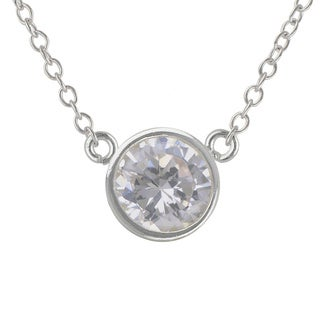 Sunstone Sterling Silver Round Made with SWAROVSKI ZIRCONIA Solitaire Necklace