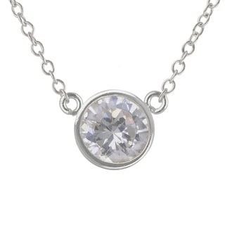 Sunstone Sterling Silver Round made with Swarovski Zirconia Solitaire Necklace with Gift Box