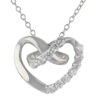 Sunstone Sterling Silver SWAROVSKI ZIRCONIA Open Heart Necklace with Gift Box
