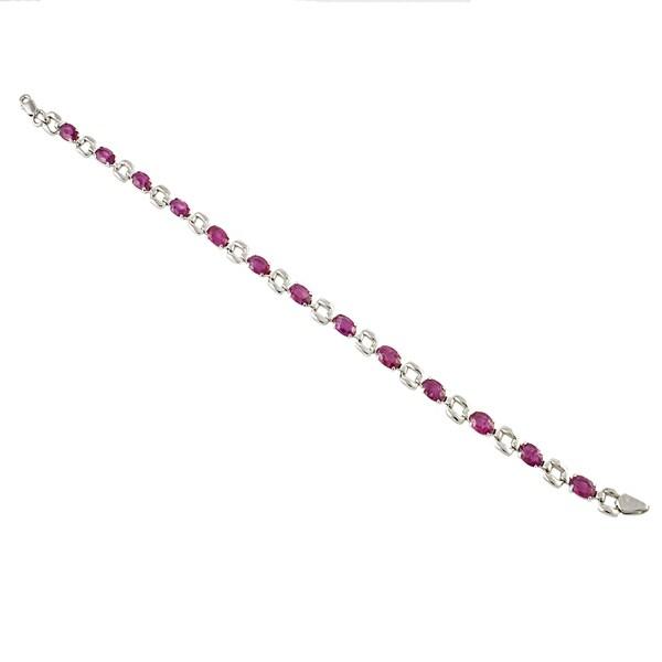 Beverly Hills Charm Sterling Silver 6ct TGW Oval-cut Ruby Bracelet