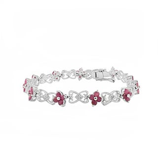 Beverly Hills Charm Sterling Silver 4ct TGW Round-cut Ruby Bracelet