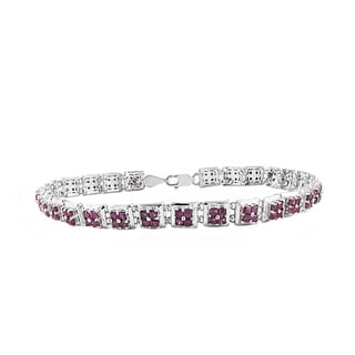 Beverly Hills Charm 6ct TGW Sterling Silver Square-cut Ruby Tennis Bracelet