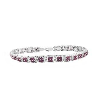 Beverly Hills Charm 6ct TGW Sterling Silver Square-cut Ruby Tennis Bracelet