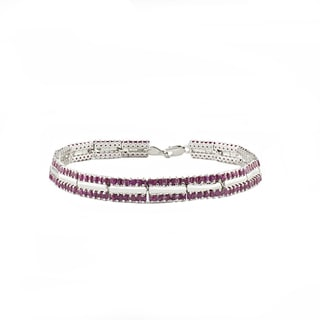 Beverly Hills Charm Sterling Silver 9ct TGW Prong-set Square Ruby Tennis Bracelet