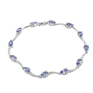 Beverly Hills Charm Sterling Silver 5.5ct TGW Tanzanite and Diamond Accent Bracelet (H-I, I2-I3)