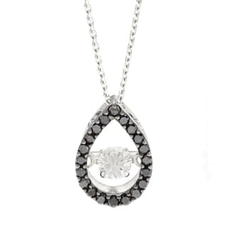 Beverly Hills Charm 'Dancing Stone' 10k White Gold 1/3ct TDW Black and White Diamond Necklace (H-I, SI2-I1)