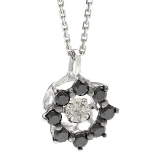 Beverly Hills Charm 'Dancing Stone' 10k White Gold 1/4ct TDW Black and White Diamond Star Necklace (H-I, SI2-I1)