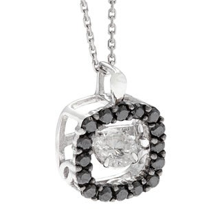 Beverly Hills Charm 'Dancing Stone' 10k Gold 1/2ct TDW Black and White Diamond Necklace (H-I, SI2-I1)