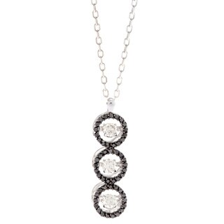 Beverly Hills Charm 14k White Gold 1/2ct TDW Black and White 3-stone PULSE Diamond Necklace (H-I, SI2-I1)