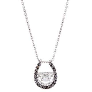Beverly Hills Charm 10k White Gold 1/3ct TDW Black and White Horseshoe PULSE Diamond Necklace (H-I, SI2-I1)