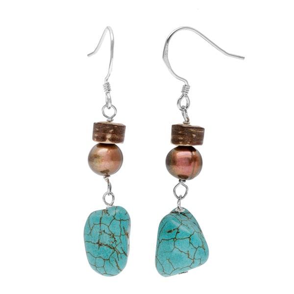 Sterling Silver Multi-gemstone Pearl Earrings 12731326