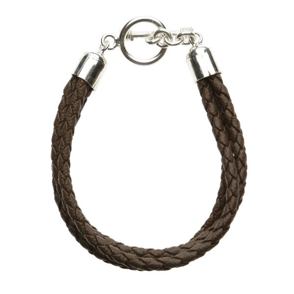 Three Strand Brown Braided Leather Bracelet
