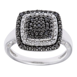 Sterling Silver 1/5ct TDW Black and White Diamond Accent Fashion Diamond Ring (H-I, I1-I2)