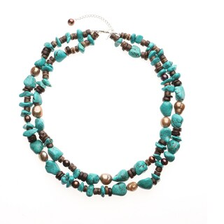 Two-row Howlite with Pearls and Coconut Necklace