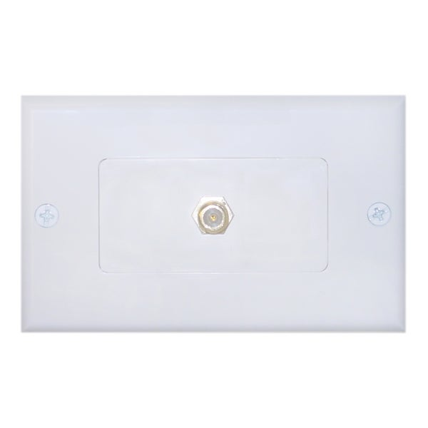 Offex Wall Plate F-Pin Coupler Female / Female TV Plate Decora White