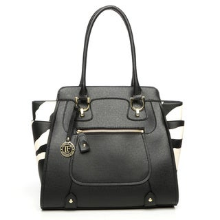 London Fog Daphne Black/ Zebra Tote