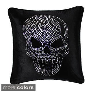 Jackson Morgan Silver Skull on Velvet 20-inch Throw Pillow