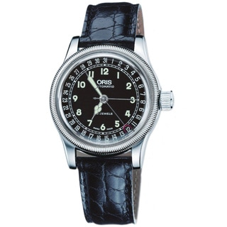 Oris Men's 'Big Crown' Black Leather Date Automatic Watch