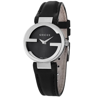 Gucci Women's YA133501 'Interlocking' Black Dial Black Leather Strap Quartz Watch