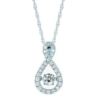 Boston Bay Diamonds Brilliance In Motion 14k White Gold 1/3ct TDW Teardrop Infinity Diamond Necklace (I-J, I1-I2)