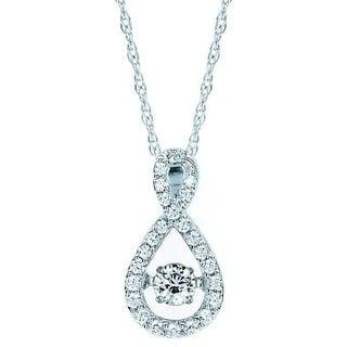 Brilliance In Motion 14k White Gold 1/3ct TDW Teardrop Infinity Diamond Necklace (I-J, I1-I2)