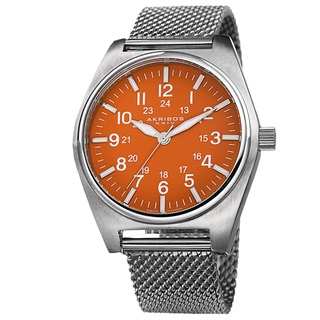 Akribos XXIV Men's Swiss Quartz 24 Hour Indicator Stainless Steel Mesh Strap Watch