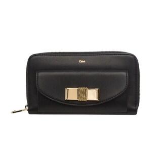 Chloe Bobbie Black Zip Around Bow Wallet
